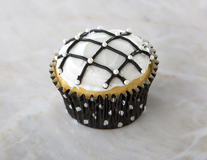 Black and White Cross Hatch Cupcakes from Cake Mate with Pearl Sprinkles