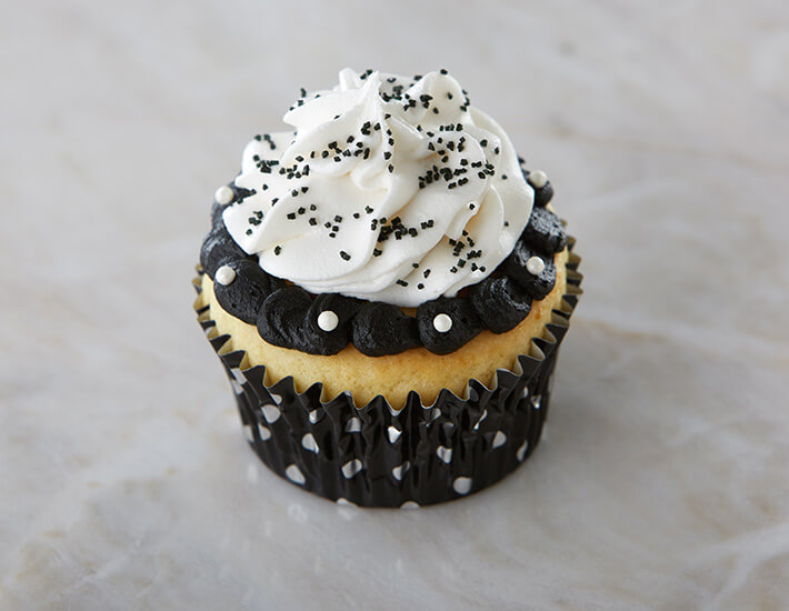 Black and White Ruffled Cupcakes from Cake Mate with Pearl Sprinkles