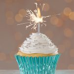 Christmas cupcakes from Cake Mate with Metallic Blue Cupcake Liners and Sparkler candle for the holidays