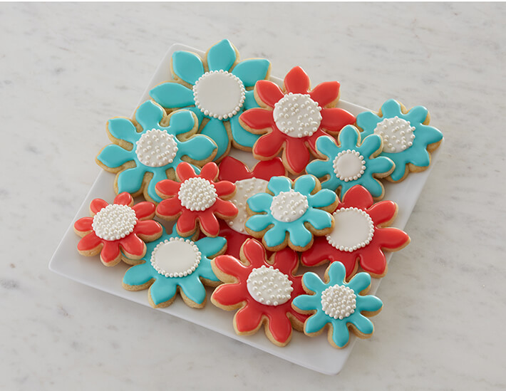 Spring Flower Sugar Cookies for Mothers Day Easter and Baby Shower Desserts