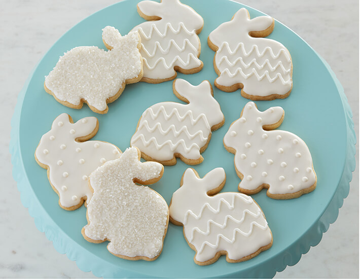 White Bunny Sugar Cookies for Easter Spring Cookie and Cupcakes Dessert Ideas