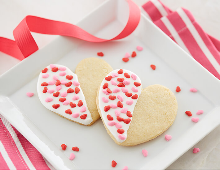 Half Dipped Valentine White Sugar Cookies with Heart Cookies for Mother's Day and Bridal Showers and Weddings