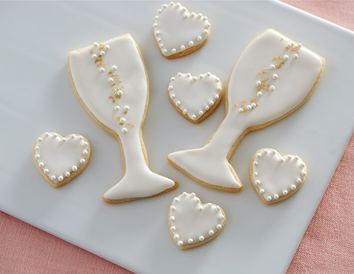 Champagne Flute White Sugar Cookies with Heart Cookies for Mother's Day and Bridal Showers and Weddings